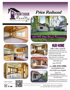 Real Estate For Sale: Investor Alert-REDUCED! Now $215,100-4 Bedroom, 3 Bath, 3224 SF One Level HUD Two Homes in One Connected by a Bonus Room on .31 Acre Lot in Vancouver, WA! Thanks for sharing Julie Baldino, Front Door Realty, Vancouver, WA!   #RealEstate #ForSaleRealEstate #RealEstateForSale #VancouverRealEstate #RealEstateVancouver #MinnehahaRealEstate #Minnehaha #EastHazelDellRealEstate #HazelDell #HUDHome #TwoLevel #TwoLevelRealEstate #CosmeticallyChallenged #LargeLot #VintageHome