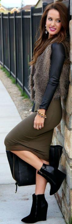 Khaki Split Bodycon Maxi Dress