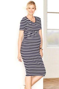 4a4b263b7f7a Buy Ecru Navy Stripe Maternity Rib Dress from the Next UK online shop