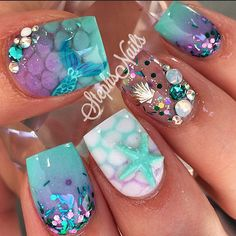 MermaidTail #mermaidnails#teal#lavender#white#scales#acrylicombre#ombrescales#love#clearnail#encapsulatedshell#diamonds#opalcrys -
