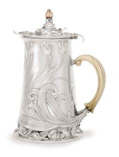 A French Silver Art Nouveau Chocolate Pot, Cardeilhac, Paris, circa 1900 - Floral design - Antique French Parisian silver chocolate pot - Could be used as a teapot coffee pot.