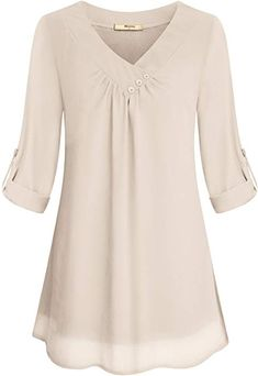Yidarton Women Chiffon Blouses Roll-up Long Sleeve Top Casual V Neck Layered Tunic ShirtMiusey Chiffon Clothing Women, Ladies Simple V Neck Roll Sleeve Front Pleated Light Material Summer Fashion Comfy Snug Lovely Blouses Shirt Top Beige M The neckli Chiffon Ruffle, Chiffon Shirt, Pleated Shirt, Tunic Shirt, Tunic Tops, Mens Flannel Shirt, How To Roll Sleeves, Blouse Online, Casual Tops