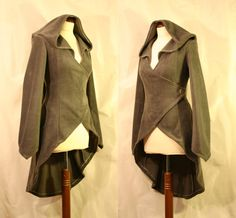 Made to Order: High-Low Hem Wrap Around Elven Boho Fleece Fall Spring Jacket with Pixie Hood, Custom size, Many colors Renaissance Fair Costume, Fairy Clothes, Fancy Costumes, Robin, Casual Cosplay, Steampunk Costume, Spring Jackets, Coat Patterns, Hippie Outfits