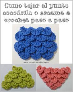 Cómo tejer el Punto cocodrilo o escama a crochet o ganchillo: Patrón y paso a paso