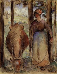 The Cowherd, 1892 - Camille Pissarro - WikiArt.org