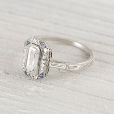 Diamond Wedding Rings : Image of Carat Sapphire & Diamond Vintage Art Deco Engagement Ring - my . - Buy Me Diamond Deco Engagement Ring, Antique Engagement Rings, Antique Rings, Antique Jewelry, Vintage Jewelry, Vintage Art, Vintage Rings, Emerald Cut Engagement Rings, Vintage Style