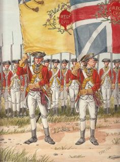 The Ensigns of Regiment of Foot 1775 by OrlopRat on deviantART(aka Thomas Payton) The flags are the wrong way round the Kings Colour should be on the right. British Army Uniform, British Uniforms, British Soldier, American Revolutionary War, American War, Military Art, Military History, Military Uniforms, British History