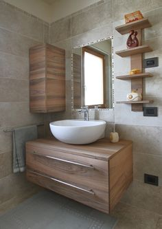 In addition to being a storage solution, bathroom furniture is an inseparable part of the integral design of this room. Bathroom Design Small, Bathroom Interior Design, Modern Bathroom, Master Bathroom, Restroom Design, Mini Bad, Washbasin Design, Bathroom Sink Bowls, Floating Bathroom Vanities