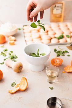 Mandarin Orange and Mint Macarons - cambrea bakes Orange Food Coloring, Gel Food Coloring, Almond Recipes, Gluten Free Recipes, Mandarin Juice, Orange Buttercream, Macaron Recipe, Silicone Baking Mat, Fresh Mint