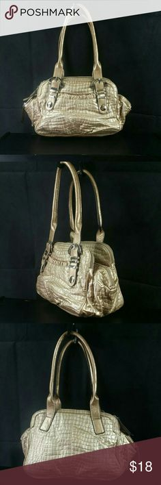 """Kathy Van Zeeland gold metalic Shoulder bag Kathy Van Zeeland gold metalic Shoulder bag tote, color gold/taupe metallic Shoulder purse, 3-zipper closure compartments,  laminated gold tone metal studs, open slip pocket on the back, 3- pouch pockets and an 1- zipper pocket imside,   9""""H x 12"""" W x  6.D, 9"""" double straps, signature lining, compare $ 35.00 store retail price value, gently used as customer return item in good cosmetic condition however small scuffs and/or dirt spot can be found…"""