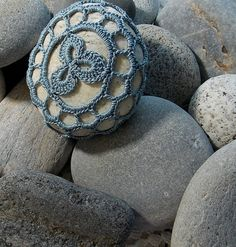 Silver Blue Grey Crocheted Maine Beach Rock Clover by jojoco62