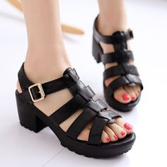 Chunky Heel and Candy Color Design Women's Sandals