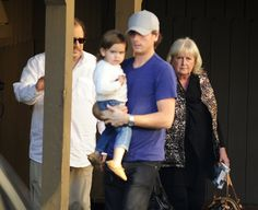 Scott Disick with his son, Mason, and mother, Bonnie (Splash News)