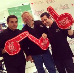A show of team spirit from Macy's Culinary Council Chefs Todd English, Tom Douglas and Johnny Iuzzini