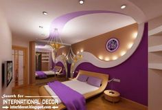 Modern pop false ceiling designs and drywall for bedroom 2015, purple bedroom