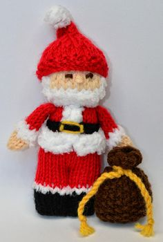 Christmas Angel, Carol Singer & Santa Claus - Christmas Ornaments 1 - Beginners Knitting Pattern DESCRIPTION: Height: 13cms Method: Worked Flat Wool: UK - DK Wool/ USA - Light Worsted/ Australia - 8ply Knitting Needles: Single pointed 3mm [UK 11/ USA 2] Additional: Toy Stuffing &