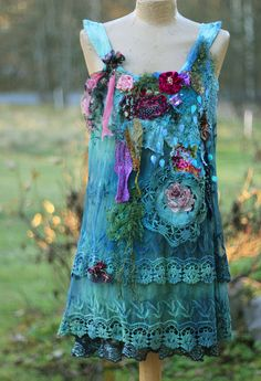 Bohemian garden- - -unique bohemian shabby chic tunic, embroidered and beaded details