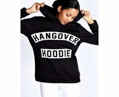 boohoo Saffron Hangover Overhead Hoody - black azz21983 A no-effort essential for those lazy days, this slogan hoodie is the statement way to see off a hangover. Go for full on comfort with joggers , printed ankle socks and a beanie . http://www.comparestoreprices.co.uk/womens-clothes/boohoo-saffron-hangover-overhead-hoody--black-azz21983.asp