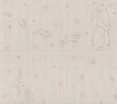 Rabbit All Star by Peony and Sage Really subtle lovely fabric for Nursery's. Gorgeous with pom pom trim, grey walls, dusts of pink. Tasteful x