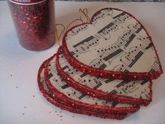this gives me an idea for ornaments-- Foam Core, with pretty paper or music, then glitter the edge - must try! - - - Music and Glitter!
