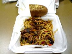 """Barbecue spaghetti from King's Palace Cafe in Memphis, TN. The tomato-based BBQ sauce with onions and red and green peppers was spicy. The pulled pork was a bit charred and moderately tender with decent smoke flavor. Overall, it was pretty good. My only gripe was the long wait (twenty minutes or more) due to the """"cafe"""" having one server/bartender working the floor."""