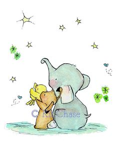 Nursery Art  Wishing On A Star 5x7  Art Print by trafalgarssquare, $10.00