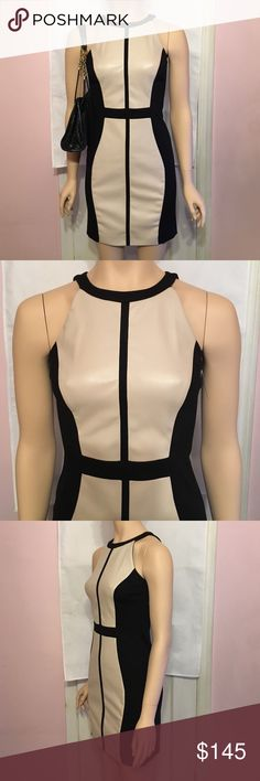 """New Elements by Vakko Dress XS Knit/Pleather Dress Geometric Knit/Pleather dress Black/Cream New without Tags Very nice quality fabric. Size XS like a size 2.  Approx 31.5"""" Elements by Vakko Dresses Mini"""