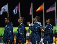 The Fiji team after receiving their gold medals during the Men's Rugby Sevens…