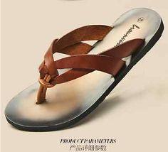 Fashion-Leather-Flip-Flops-Thongs-Casual-Beach-Roman-Mens-Sandal-Shoes-Slippers