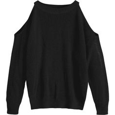 Crew Neck Cold Shoulder Pullover Sweater Black (65 PLN) ❤ liked on Polyvore featuring tops, sweaters, zaful, crew sweater, crew neck pullover sweater, crewneck sweaters, cutout-shoulder sweaters and sweater pullover