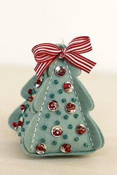 Papertrey Ink - Christmas Tree Change Up: Stitching Die: Papertrey Ink Clear Stamps Dies Paper Ink Kits Ribbon Fox Ornaments, Felt Christmas Ornaments, Noel Christmas, Handmade Ornaments, How To Make Ornaments, Handmade Christmas, Beaded Ornaments, Glass Ornaments, Ornament Tree
