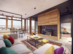 Apartments:Colorful Interior Design Ideas To Modern Apartment Design With Colorful Carpet Cushions Also Wooden Table Also Wooden Cabinetry Dining Sets Painting White Sofa And Marble Floor Its Cool Designs Remarkable Interior Design Ideas to Modern Apartment in Warsaw, Poland