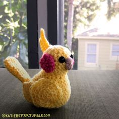 Lutino cockatiel amigurumi I made for my friend, Mandy <3