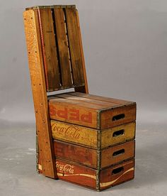 Soda box chair  This chair was sold $325 at auction...it looks simple enough to make