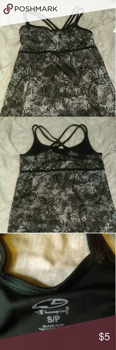 Workout tank Strappy workout tank with removable pads. Used. Champion Tops Tank Tops