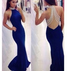 Blue long prom dress,mermaid backless long prom dresses ,2016 evening dress