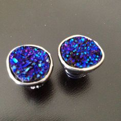 Small Iridescent Druzy Gauges Plugs Earrings