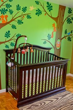 With a last name like Woods, how can you not build your nursery on a woods theme? #pinparty