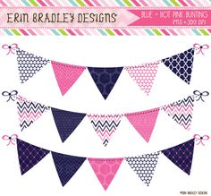 Blue and Hot Pink Banner Flags Bunting Clipart Clip Art Graphics Commercial Use on Etsy, $5.00