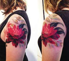 Red Dahlia tattoo