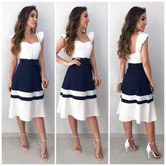 Swans Style is the top online fashion store for women. Shop sexy club dresses, jeans, shoes, bodysuits, skirts and more. Dress Outfits, Casual Dresses, Cool Outfits, Fashion Dresses, Girls Dresses, Summer Dresses, Blouse And Skirt, Office Outfits, Dress Patterns