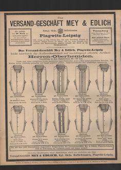 Mey und Edlich Versandgeschäft Leipzig Herren Oberhemden Werbung aus 1885…