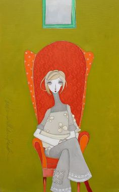 Kate's Chair - part of the Lime series by Melissa Peck People Illustration, Illustration Art, Bad Painting, Paintings I Love, Portrait Inspiration, American Artists, New Art, Folk Art, Character Design