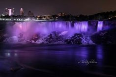 Niagara Falls by Christine Hess. Falls lighted purple for lupus.