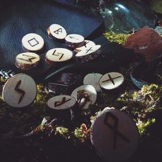 There is a new elder futhark rune set in the shop. It come in a beautiful handstitched leathet purse... get yours on Ancient Hearts now.