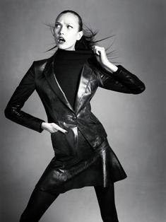 Karlie Kloss Wears Black & Navy Looks for the Neiman Marcus