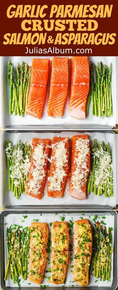 Garlic Parmesan Crusted Salmon and Asparagus - easy, healthy, gluten free dinner (seafood, fish recipes) salmon recipes Parmesan Crusted Salmon, Garlic Salmon, Baked Salmon And Asparagus, Asparagus Meals, Roasted Salmon, Baked Salmon Recipe Foil, Smoked Salmon, Baked Asparagus Recipes, Grilling Recipes