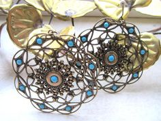 Turquoise and Gold Filigree Dangle Disc by JewelsOfHighElegance, $20.00