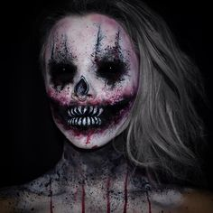 """""""October 8th: Something that nightmares are made of. Took inspiration from @zackdunn89 ✖️ Used #Mehron cream paints & Paradise Paints. #mehronmakeup…"""""""