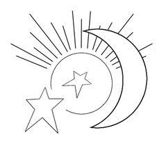 outlines - sun moon stars